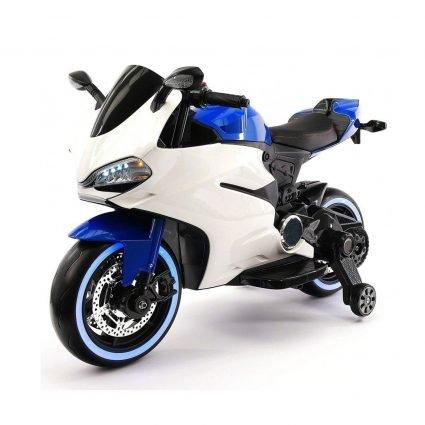 Детский электромотоцикл Ducati 12V - FT-1628 бело- синий (колеса светящиеся, сиденье кожа, музыка, страховочные колеса)