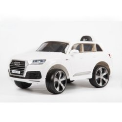 Электромобиль Audi Q7 Quattro Lux белый (колеса резина, кресло кожа, пульт, музыка)